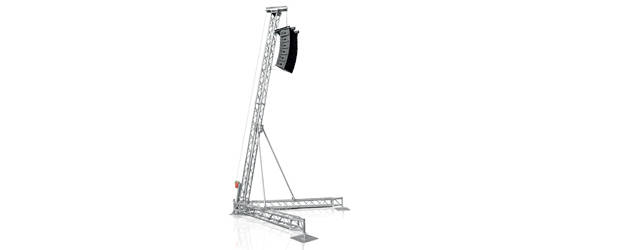FLYINTOWER 7.5-500 - Torre PA Inclinata (h7.5m, SWL500kg)